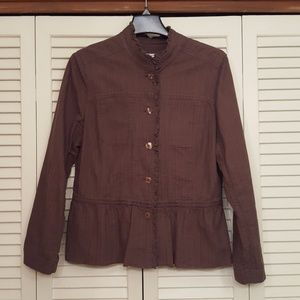 J JILL BROWN BUTTON FRONT PEPLUM RUFFLED JACKET